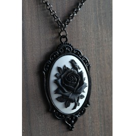 Black Rose On White Cameo Necklace Ornate Victorian Setting