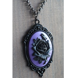 Black Rose On Purple Cameo Necklace Ornate Victorian Setting