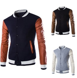 Color Blocking Faux Leather Long Sleeved Cotton Winter Men Coat