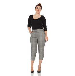 Voodoo Vixen Angelina Houndstooth Retro Cropped Trousers
