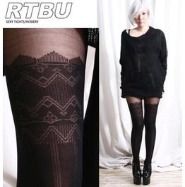 False hold up thigh hi stocking zig zag pantyhose tights socks
