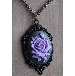 Purple Rose On Black Cameo Necklace Ornate Victorian Setting