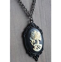 Ivory Skeleton Lady Black Cameo Necklace Ornate Victorian Setting