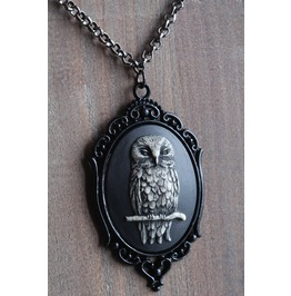 Owl Black Cameo Necklace Ornate Victorian Setting