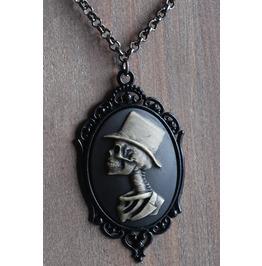 Top Hat Skeleton Gentleman Black Cameo Necklace