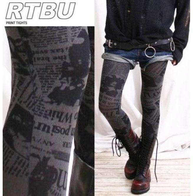 Punk Emo Newspaper Printed Opaque 120 Den Tight Legging Rebelsmarket