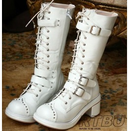 Gothic Punk Cosplay Visual Kei V Stud Strap Buckle Heel Boots Handmade