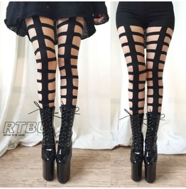 Gothic Punk Bondage Strappy Laser Cut Cage Legging Show Dance Club L/Xl