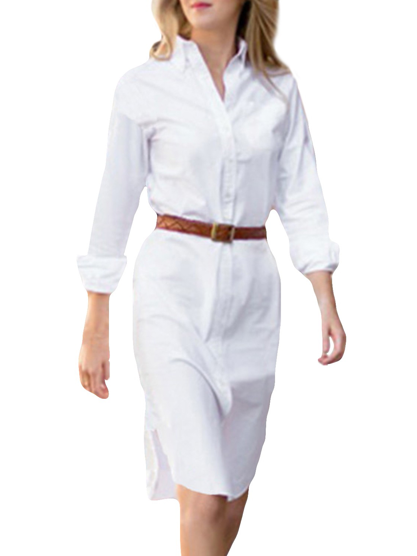 Awesome  Retro Womens OL Blue Denim Button Down Shirt Dress Foldable 34 Sleeve