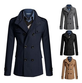 Mens Woolen Double Breasted British Style Coat