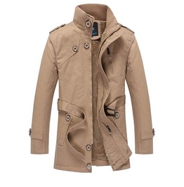 Mens Classic Stand Collar Trench Coat