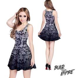 [ Plus Size 2 X L ] Pile Of Skulls Sleeveless Dress