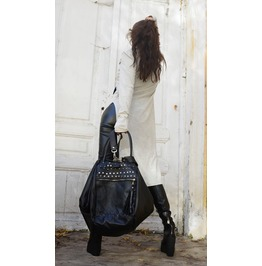 Maxi Black Leather Bag / Multiple Straps Tote / Large Studs Shoulder Bag