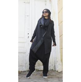 Asymmetric Grey Coat / Loose Zipper Winter Coat / Leather Detail Pattern