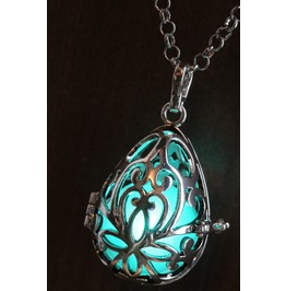 Aqua Teal Glowing Orb Pendant Necklace Drop Locket