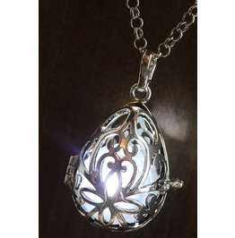 White Glowing Orb Pendant Necklace Drop Locket