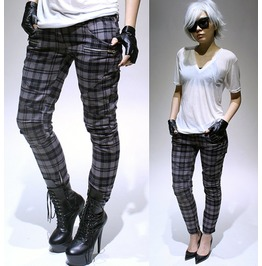 Street chic motorcycle rider armor zipper insert skinny plaid tartan pants  pants and jeans 6