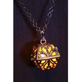 Orange Glowing Orb Pendant Necklace Box Locket