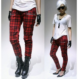 Punk Rider Biker Armor Cigarette Skinny Plaid Tartan Ankle Cropped Pants