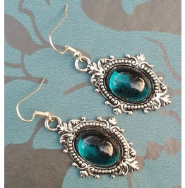 Gothic Victorian Steampunk Red Jewel Drop Silver Metal Filigree Earrings