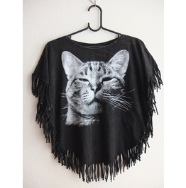 Cat Animal Poncho Fringes Fashion Pop Rock Stone Wash T Shirt