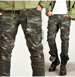 Masculine Vintage Camouflage Cargo Slim Pants 109