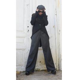 Black Asymmetrical Blazer/ Short Sleeve Coat / High Waisted Black Jacket