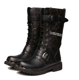 Vintage Floral Lace Up Faux Leather Men Martin Boots Men Army Boots Men