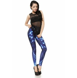 Snowing Winter Blue Galaxy Leggings Pants