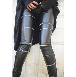 Black Leather Tight Pants / Extra Long Pants With Zippers / Statement Pants