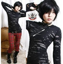 Punk distressed broken mummy corroded raggedy sheer thumb hole mitten shirt standard tops