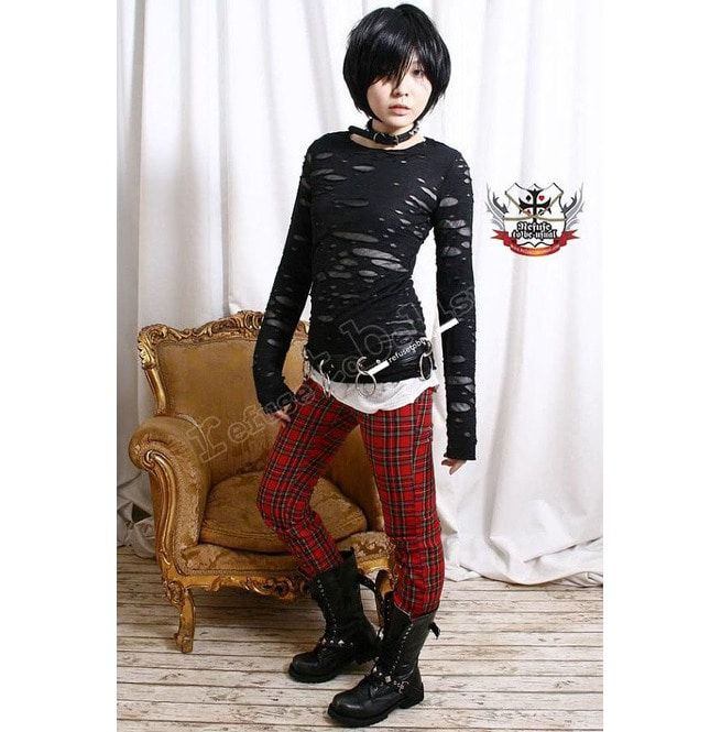 81910c679e747 Punk Distressed Broken Mummy Corroded Raggedy Sheer Thumb Hole Mitten Shirt