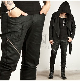 Diagonal Zipper Accent Black Coated Denim Slim Jeans 185