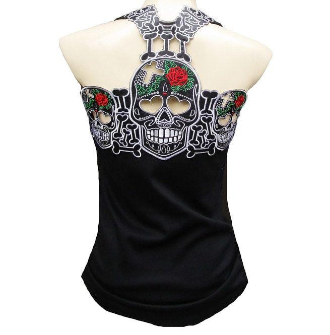 00750955fe7a45 Rockabilly Punk Rock Baby Sugar Muerte Skull Tank Top