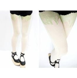 Mint Glitter Melting White Tights