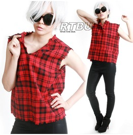 Androgynous Grunge Punk Red Loose Fit Raw Edge Tartan Flannel Tank Top