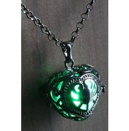 Green Glowing Orb Pendant Necklace Heart Locket Gun Metal Black
