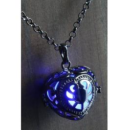 Blue Glowing Orb Pendant Necklace Heart Locket Gun Metal Black