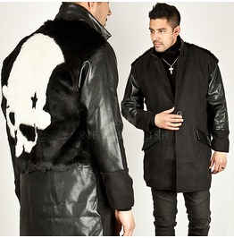Back Skull Fur Accent Leather Contrast Long Jacket 174