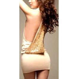 Beautiful + Unique Cream Beige Mini Dress With Sequin Sparkley Feature Sml