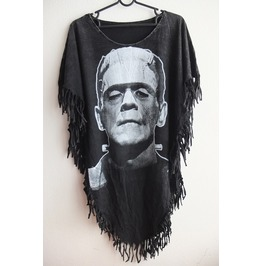 Frankenstein Fashion Punk Hippie Batwing Tussle Fringes Stone Wash Poncho