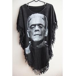 Frankenstein Fashion Punk Hippie Batwing Tussle Fringes Stone Wash Poncho