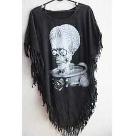 Alien punk hippie batwing tussle fringes stone wash poncho dresses