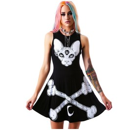 Punk Rock Dark Street Show Cartoon Dog Bone Moon Print Sleeveless Dress