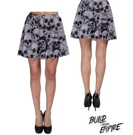 [ Plus Size 3 X L ] A Pile Of Skulls Skater Skirt