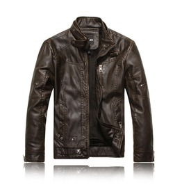 Mens Black/Brown/Yellow Faux Leather Winter Jacket