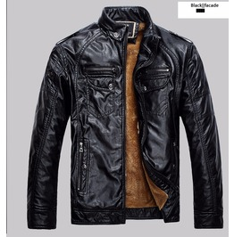 Mens 4 Colors Faux Leather Winter Jacket
