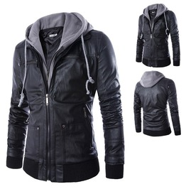 Mens Black Faux Leather Hooded Jacket