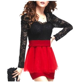 Cool Black Lace And Scarlet Red Mini Dress Ruffled Skirt Design Size 6/8 Uk