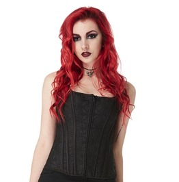 Bedroom Stories Countess Black Zip Front Gothic Corset